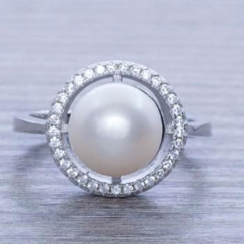 Anillo perla circular Plata...