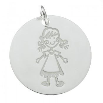 Colgante medalla niña Plata...