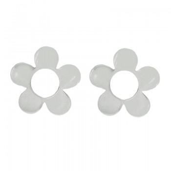 Pendientes flor plana Plata...