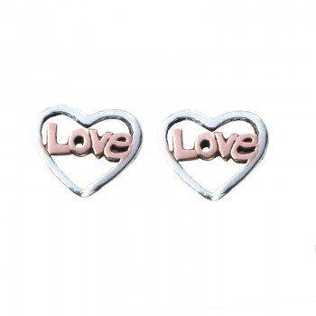 Mini pendientes Love Plata...