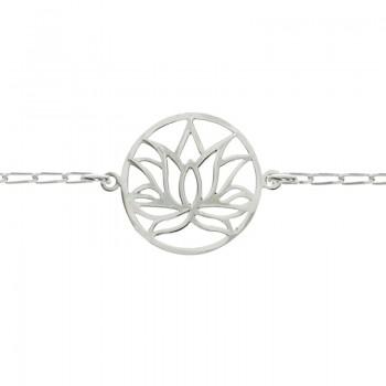 Pulsera flor de loto Plata...
