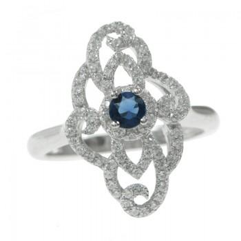 Anillo Blue Zirconia Plata...