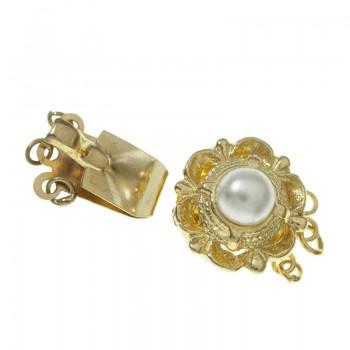 Broche click dorado con perla