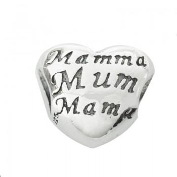 Charm corazón Mamá Plata de...