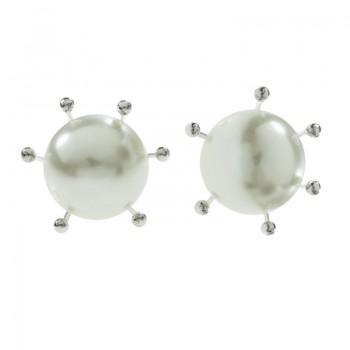 Pendientes perla engarzada...