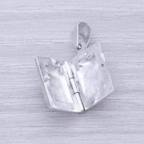 Guardapelo rectangular liso Plata de Ley