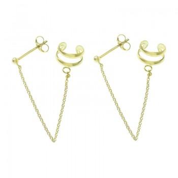 Ear cuff dorado cadena y...