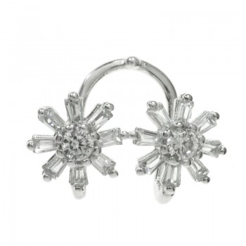 Ear cuff flores circonita...