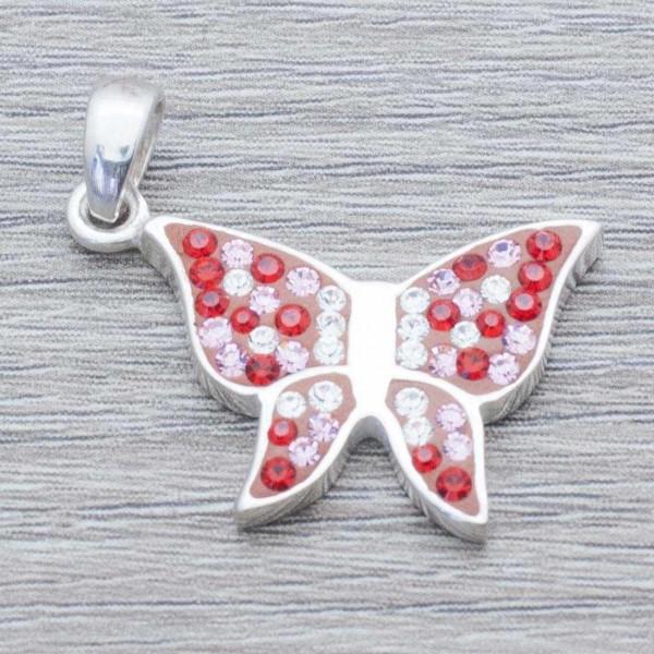 Colgante mariposa circonia Plata de Ley