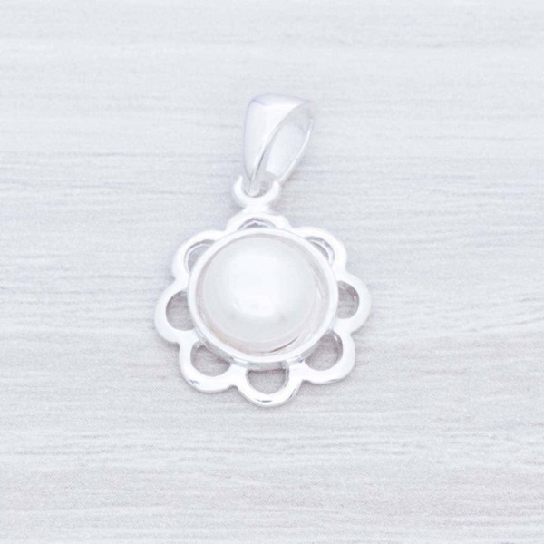 Colgante flor con perla Plata de Ley