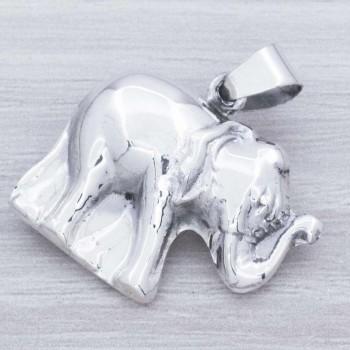 Colgante elefante realista Plata de Ley